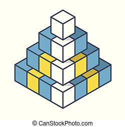 Outlined object in shape of pyramid. Abstract cube vector shape