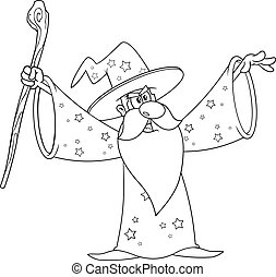 Outlined Old Wizard Cartoon Character With A Cane Making Magic