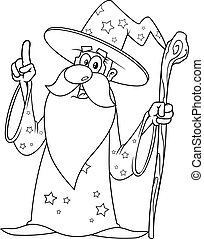 Outlined Old Wizard Cartoon Character With A Cane Pointing