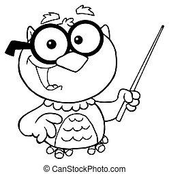Outlined Owl Teacher Cartoon
