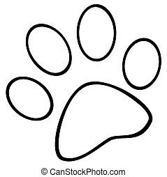 Outlined Paw Print Cartoon Character
