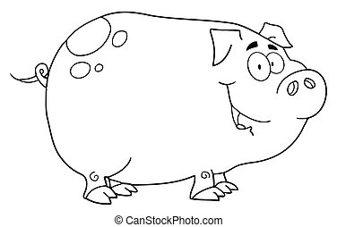 Outlined Pig Cartoon Character