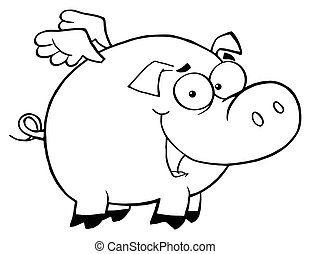 Outlined Pig Flying Cartoon Character