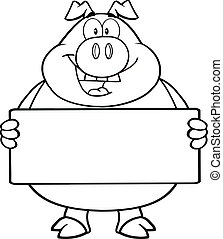 Outlined Pig Holding A Banner - Black And White Pig Cartoon...