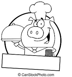 Outlined Pig Waiter Serving A Platter Logo With A Text Box