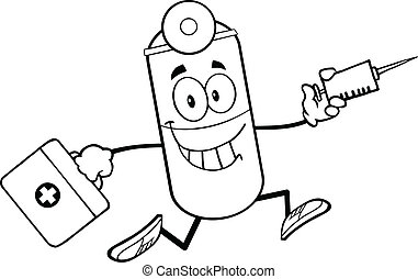 Outlined Pill Capsule Running