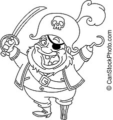 Outlined pirate - Outlined cartoon pirate. Vector...