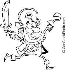 Outlined Pirate Holding Up A Sword
