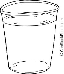 Outlined Plastic Cup of Water - Outlined single plastic cup...