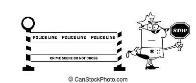 Outlined Police Officer