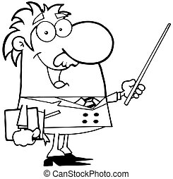 Outlined Professor - Happy Black And White Professor Using A...