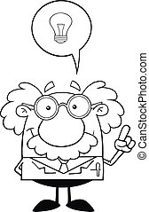 Outlined Professor With Good Idea - Black And White Smiling...