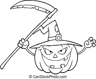 Back And White Scaring Halloween Pumpkin With A Witch Hat And Scythe