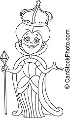 Outlined queen. Vector illustration coloring page.