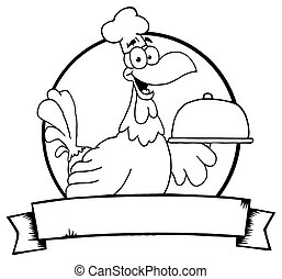 Outlined Rooster Chef