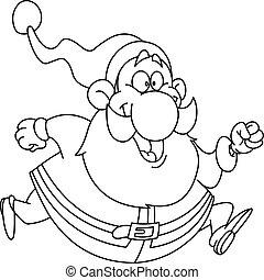 Outlined running santa