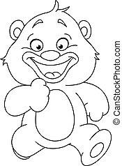 outlined running teddy bear