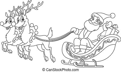 Outlined Santa sleigh - Outlined Santa riding his sleigh