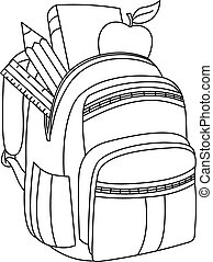 Outlined school backpack. Vector illustration coloring page.