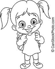 Outlined schoolgirl