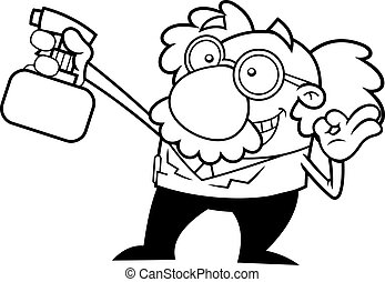 Outlined Science Professor Cartoon Character Spraying