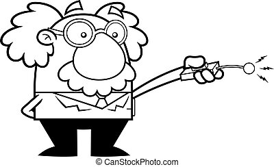 Outlined Science Professor Cartoon Character Using Remote Control