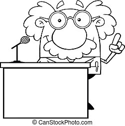 Outlined Scientist From Podium - Black And White Scientist...