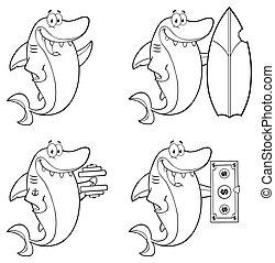 Outlined Shark Collection - 1