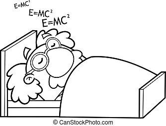 Outlined Sleeping Science Professor Cartoon Character Dreaming Formulas