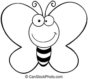 Outlined Smiling Butterfly