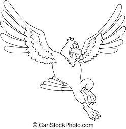 Outlined Smiling Eagle Cartoon Character Flying