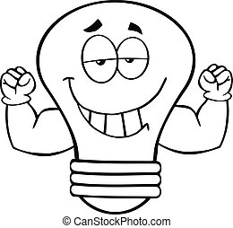 Outlined Smiling Light Bulb