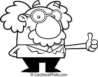 Outlined Smiling Science Professor Cartoon Character Showing Thumbs Up