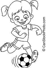 Outlined soccer girl