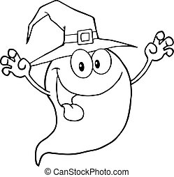Outlined Spooky Ghost Wearing A Witch Hat