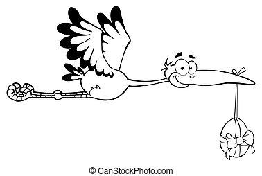 Outlined Stork Flying With Egg