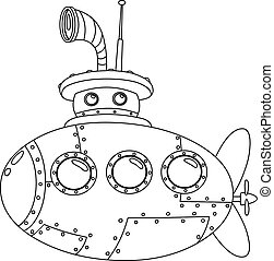 Outlined submarine. Vector illustration coloring page