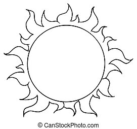 Outlined Sun Shining - Outline Of A Full Summer Sun