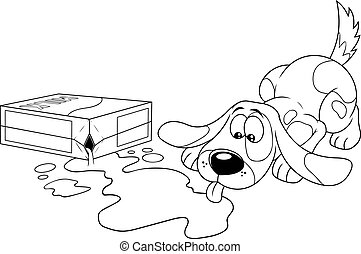 Outlined Sympathetic Dog Cartoon Character Drinking Milk From Broken Box