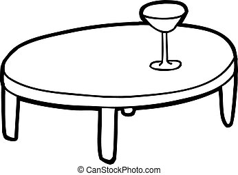 round table clipart black and white. outlined table with glass - outline cartoon of with. round clipart black and white b
