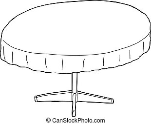Outlined Table with Tablecloth