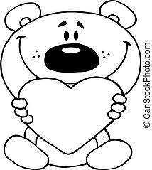 Outlined Teddy Bear Holding A Red Heart