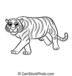 Outlined tiger vector illustration