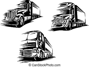 Outlined trucks, lorries with motion trails