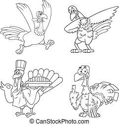 Outlined Turkey Bird Cartoon Mascot Character Set. Vector Collection