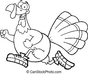 Outlined Turkey Bird Jogging - Black and White Happy Turkey...