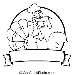 Outlined Turkey Chef Banner