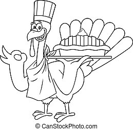 Outlined Turkey Chef Cartoon Character Holding Perfect Pie