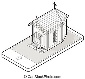 Outlined vector Christian small church in mobile phone, in isometric perspective.