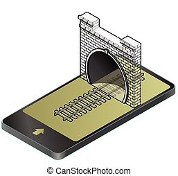 Outlined vector low poly stone tunnel with asphalt road in mobile phone in isometric perspective.
